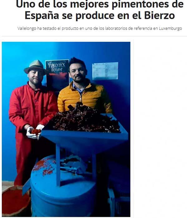certificado de los mejores pimentones de España Vallelongo